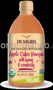 Уксус De Nigris Organic яблочный с медом и клюквой нефильтрованный, Италия
