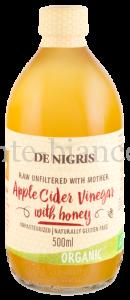 Уксус De Nigris Organic яблочный с медом нефильтрованный, 500 мл, Италия