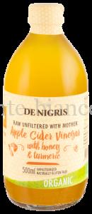 Уксус De Nigris Organic яблочный с медом и куркумой нефильтрованный, Италия