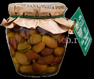 Оливки сорта ТАДЖАСКА без косточки в оливковом масле Extra Vergine, Sant'Agata, стекло 180 г